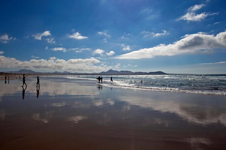 Beach Playa de Famara, Lanzarote, Canary Islands, Spain