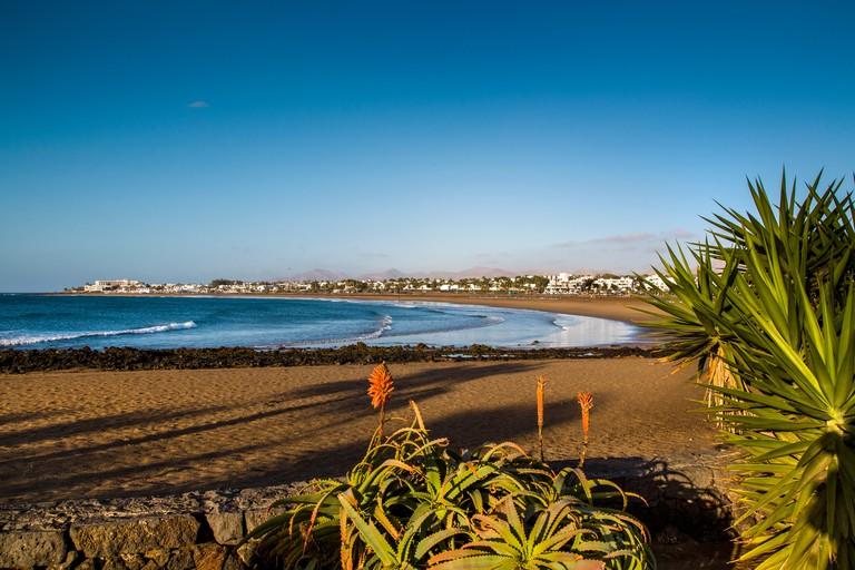 Beach at Playa de los Pocillos, Puerto del Carmen, Lanzarote, Canary Islands, Spain