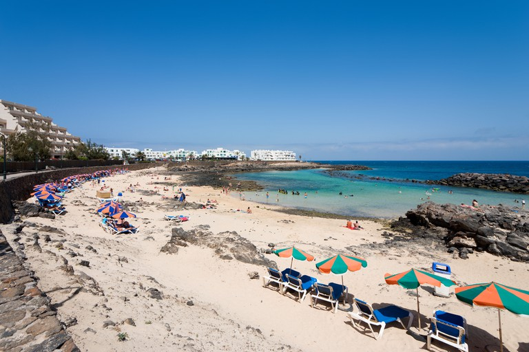 Beach at Playa del Jablillo, Costa Teguise, Lanzarote, Canary Islands, Spain. Image shot 07/2008. Exact date unknown.