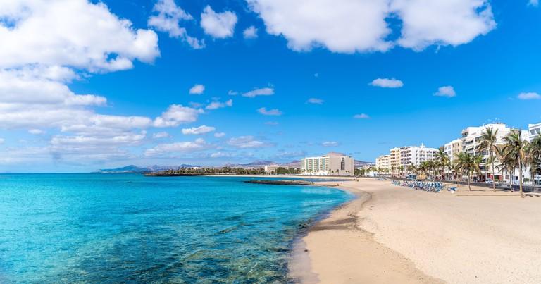 Landscape with Playa del Reducto im Arrecife, capital of Lanzarote, Canary Islands, Spain
