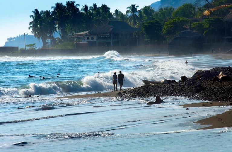 Playa El Tunco, El Salvador, Pacific Ocean Beach, Popular With Surfers, Great Waves, Beach Resorts