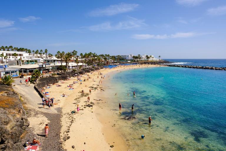 Playa Flamingo beach, Playa Blanca, Lanzarote, Canary Islands, Spain