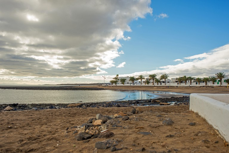 View of the peaceful Playa Honda oin the island of Lanzarote, near Arrecife and near Lanzarote's airport