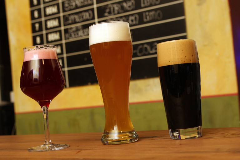 From left to right: Lindemans Belgian cherry beer, Camba wheat beer and Svaneke Chocolate Stout in the Tap House in Rosenheimerstrasse 108 in Haidhausen.