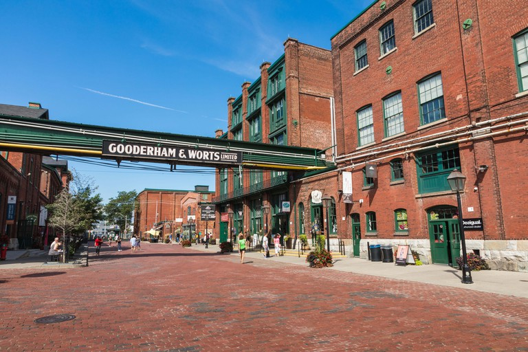 TORONTO, CANADA - SEPTEMBER 18, 2018: Distillery District (former Gooderham & Worts Distillery) - historic and entertainment precinct. It contains num