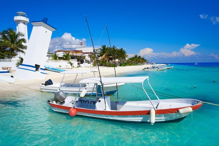 Puerto Morelos beach in Mayan Riviera Maya of Mexico.