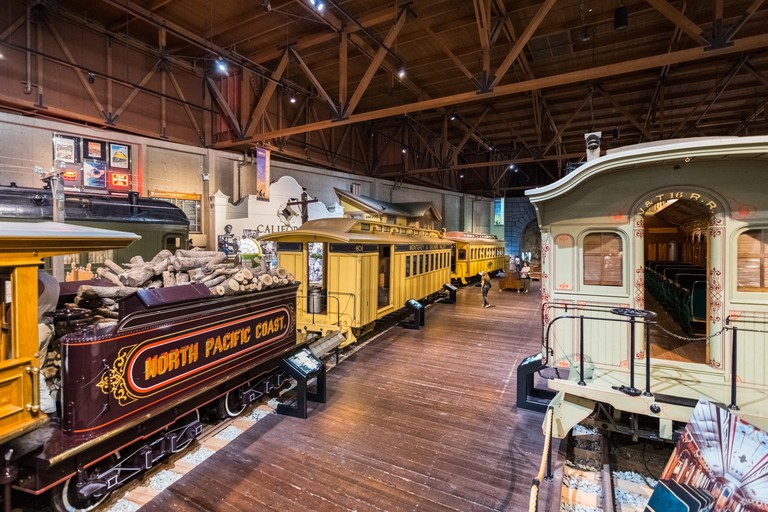 September 22, 2018 Sacramento / CA / USA - People visiting the California State Railroad Museum