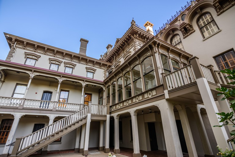 September 23, 2018 Sacramento / CA / USA - Exterior view of the Leland Stanford Mansion (view of the back section) located in downtown Sacramento;