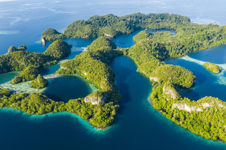 """Remote limestone islands in Raja Ampat, Indonesia, are surrounded by healthy coral reefs. This region is known as the """"heart of the Coral Triangle."""""""