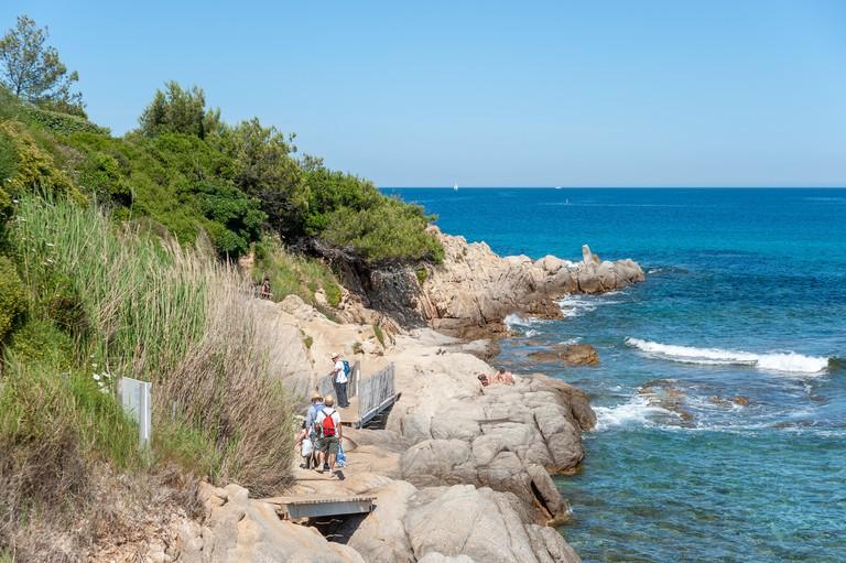 Landscape with coastal path Sentier du Littoral, Ramatuelle, Var, Provence-Alpes-Cote d`Azur, France, Europe