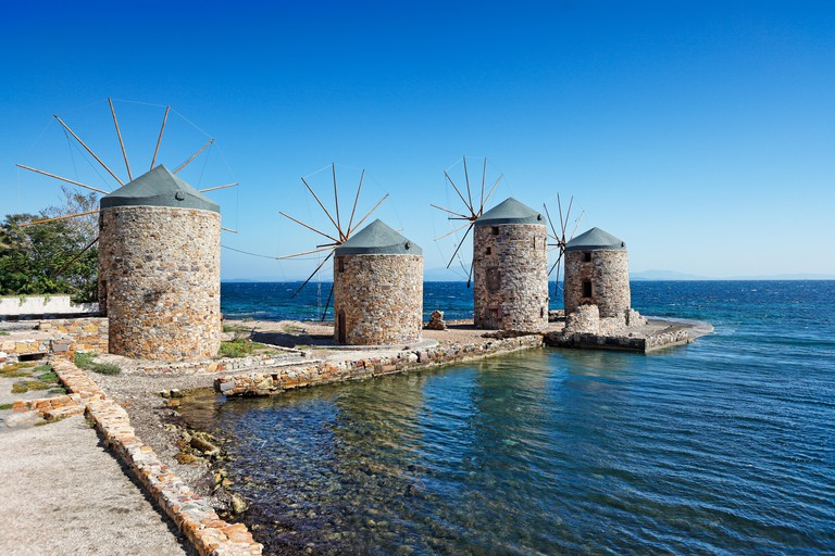 The famous windmills in Chios island, Greece