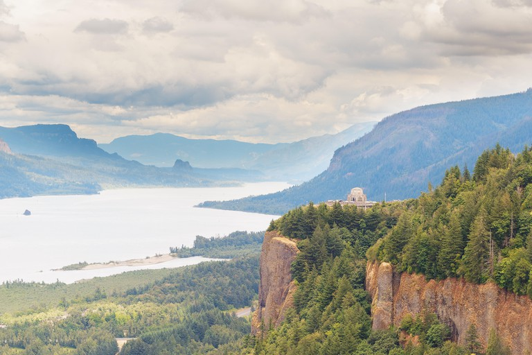 Columbia River Gorge, view of Crown Point and the Vista House in the Sumer season, Oregon state, USA