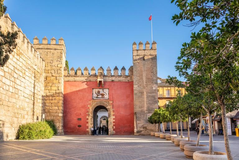 Entrance to the Alcazar Palace Royal Alcazar of Seville Real Alcazar Seville Seville Spain seville Andalusia Spain EU EuropeSeville Spain EU Europe