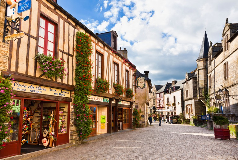 Brittany, France - Rochefort en Terre village street