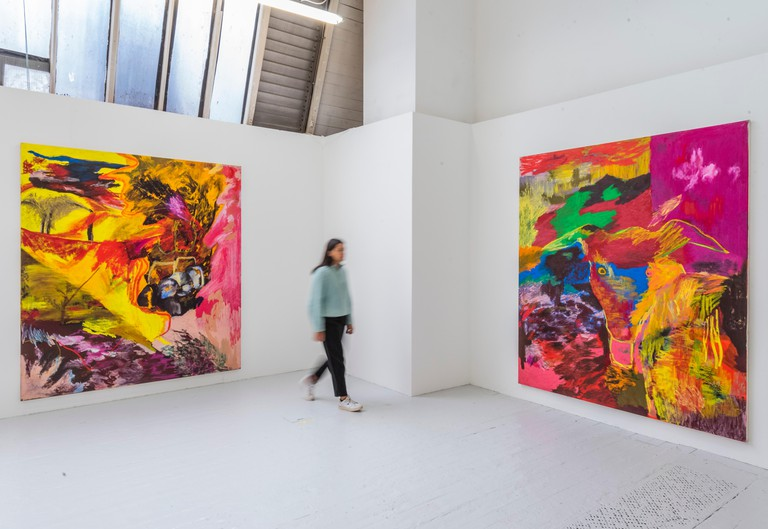 London, UK. 19th June, 2019. Works by Rachel Jones - RA Schools Show, exhibiting the new artistic talent graduating from the RA Schools. It opens today at the Royal Academy of Arts and runs until 30 June 2019. Credit: Guy Bell/Alamy Live News