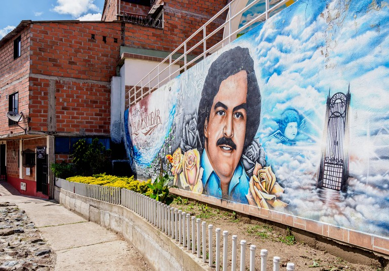 Mural Painting from Pablo Escobar in El Barrio Pablo Escobar, Medellin, Antioquia Department, Colombia