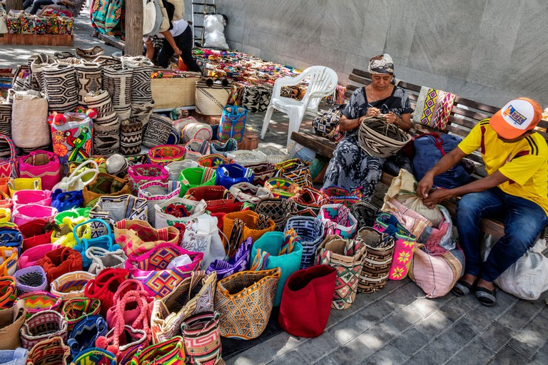 Santa Marta-Colombia,  16. January 2020: View of colorful tourist souvenirs for sale in the old town of Santa Marta, Colombia.