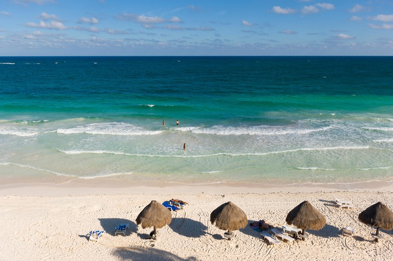 Sian Ka'an Biosphere Reserve in Tulum, Mexico as seen from the eco-friendly Cesiak hotel and tent cabins.