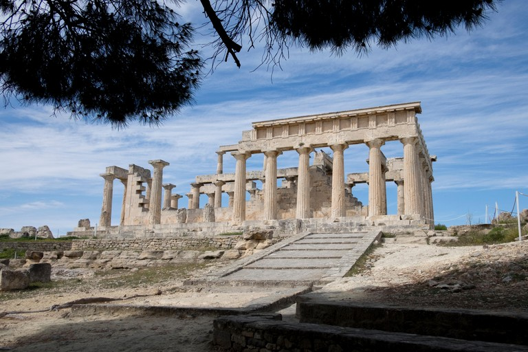 A dramatic view of the Greek temple of Aphaia on Aegina Island, Greece.