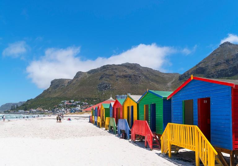 Colourful Victorian beach huts in Muizenberg, Cape Town, Western Cape, South Africa