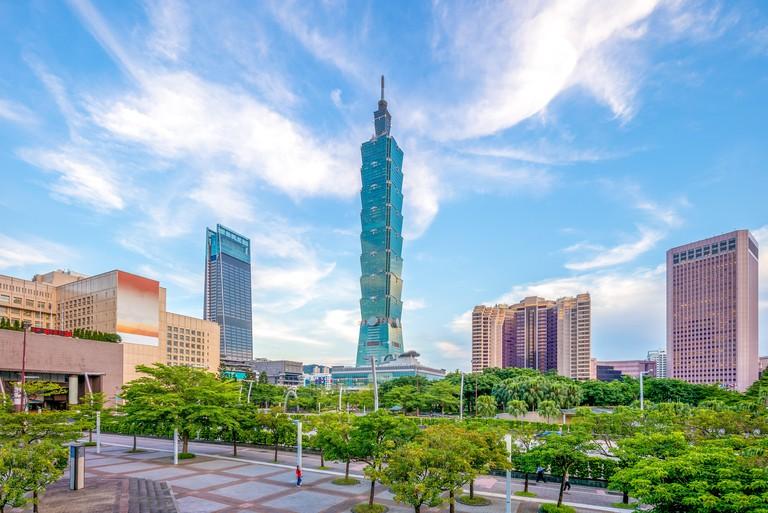 skyline of taipei city with 101 tower
