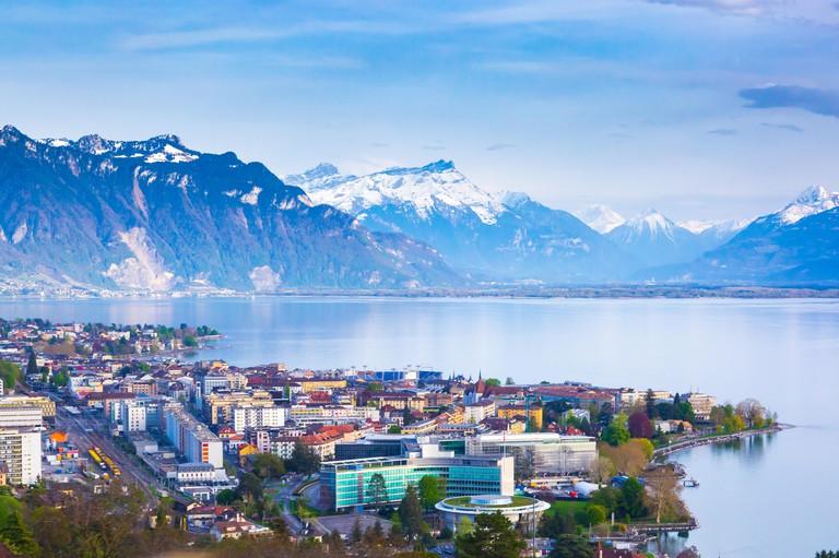 Panorama of Montreux city, Lake Geneva and amazing mountains in Switzerland