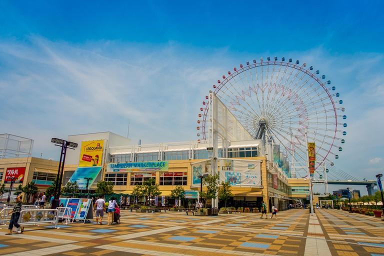 JMWE8F OSAKA, JAPAN - JULY 18, 2017: Close up frame trust of Tempozan Ferris Wheel in Osaka, Japan. It is located in Tempozan Harbor Village, next to Osaka Aquarium Kaiyukan