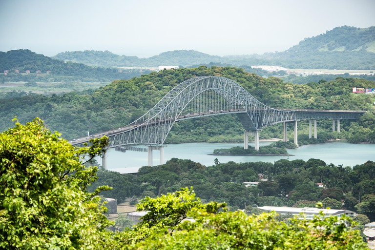 PANAMA CITY, Panama--A view of the Bridge of the Americas, spanning the Panama Canal, from the top of Ancon Hill. Ancon Hill is only 654-feet high but commands an impressive view out over the new and old sections of Panama City. With views out over both t
