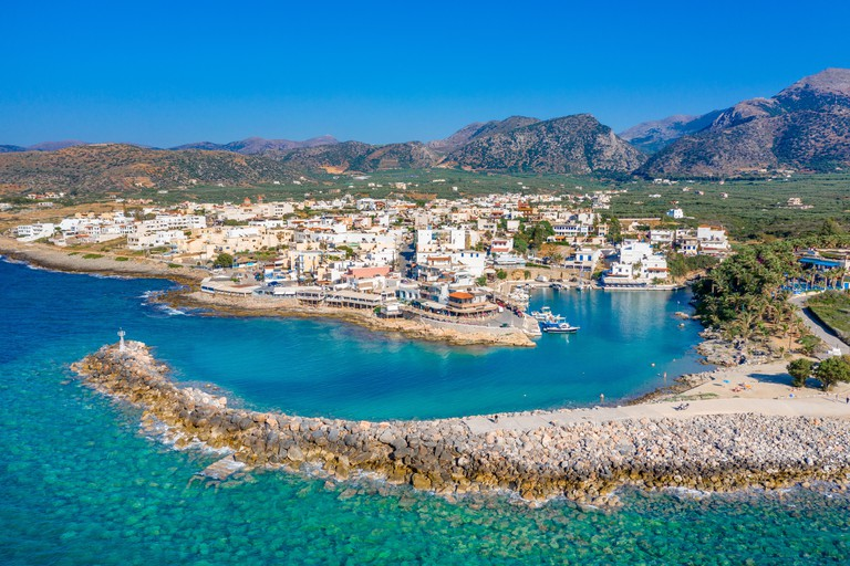 View of the old harbor of traditional village Sisi, Crete, Greece