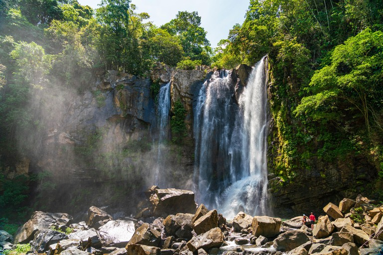 The top section of Nauyaca Waterfalls in Costa rica, a majestic cascading fall in Dominical province, Costa Rica - TW3W3W
