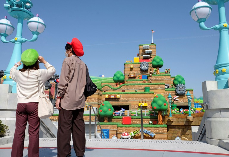 2F3RAJD General view shows Yoshi's Adventure attraction inside Super Nintendo World, a new attraction area featuring the popular video game character Mario which is set to open to public on March 18, during a press preview at the Universal Studios Japan theme park in Osaka, western Japan, March 17, 2021. Picture taken March 17, 2021. REUTERS/Irene Wang