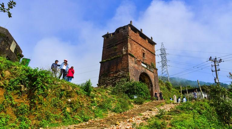 Da Nang, Vietnam - Jan 18, 2019. Ancient fort on the top of Hai Van Pass in Danang, Vietnam. Hai Van Pass offers an impressive landscape of verdant mo