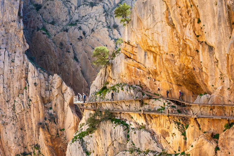 view of El Caminito del Rey or King's Little Path, one of the most Dangerous Footpath reopened 2015 Malaga, Spain