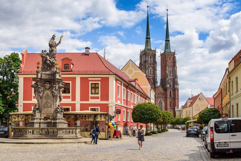 WROCLAW, POLAND - July 17, 2019: Katedralna Street, the main street of Ostrow Tumski, one of the most beautiful Wroclaw streets.