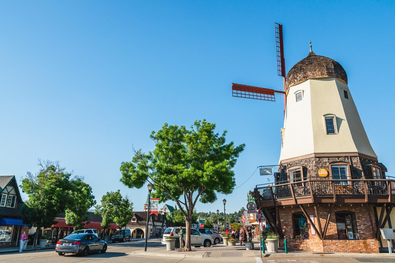 Main Street and Windmill in Solvang, a City in Southern California's Santa Ynez Valley. City Has Known for its Traditional Danish Style Architecture