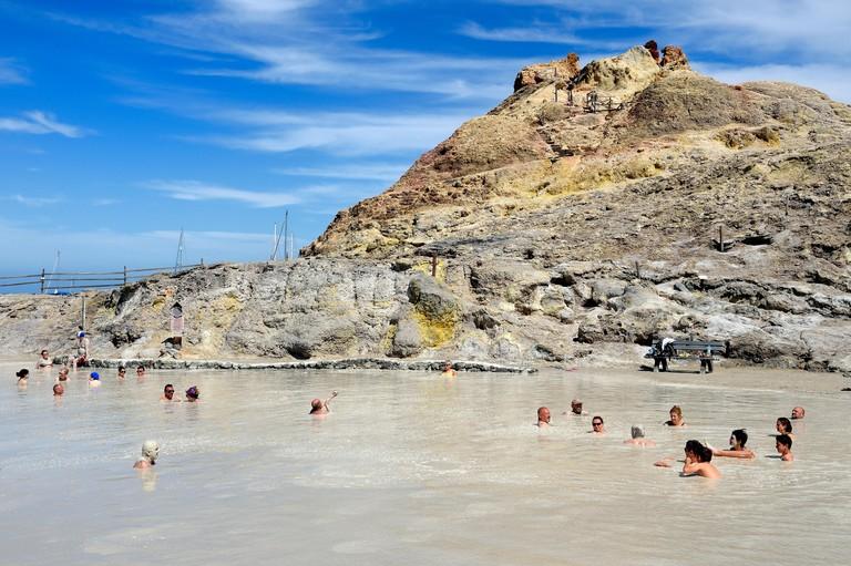 Italy, Sicily, Aeolian Islands, listed as World Heritage by UNESCO, Vulcano Island, sulphurous mud baths on the coast