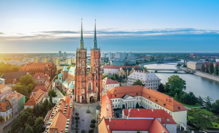 Aerial cityscape of Wroclaw with Cathedral of St. John the Baptist, Poland