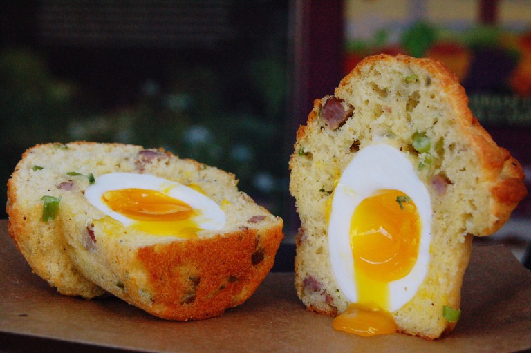 Egg In Muffin On Table