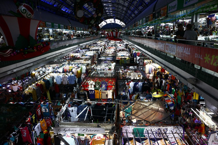 SAN JUAN CITY, PHILIPPINES ? NOVEMBER 1, 2019: Bazaar stalls sell assorted trendy and affordable clothes at a popular shopping center in San Juan City