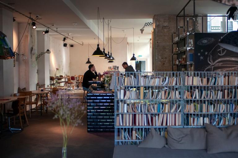 Bar and restaurant of Michelberger Hotel in Warschauer street in Friedrichshain Berlin Germany