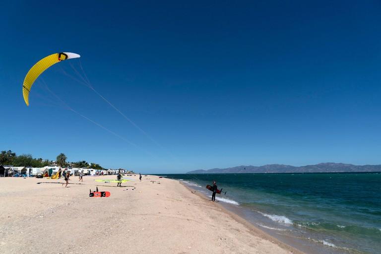 LA VENTANA, MEXICO - FEBRUARY 16 2020 - La Ventana in english the window beach is a super fun for american kite surfers