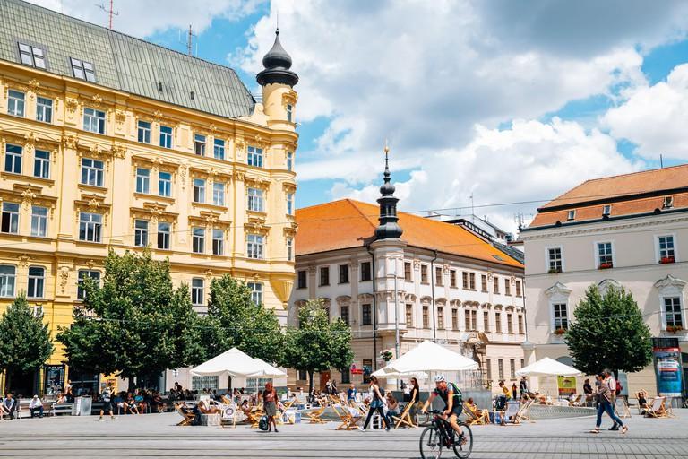 Brno, Czech Republic - June 21, 2019 : Old town Freedom Square