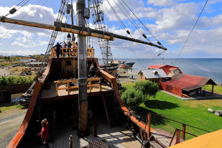 View of the Nao Victoria Replica ship, Museo Nao Victoria, Punta Arenas city, Patagonia, Chile, South America