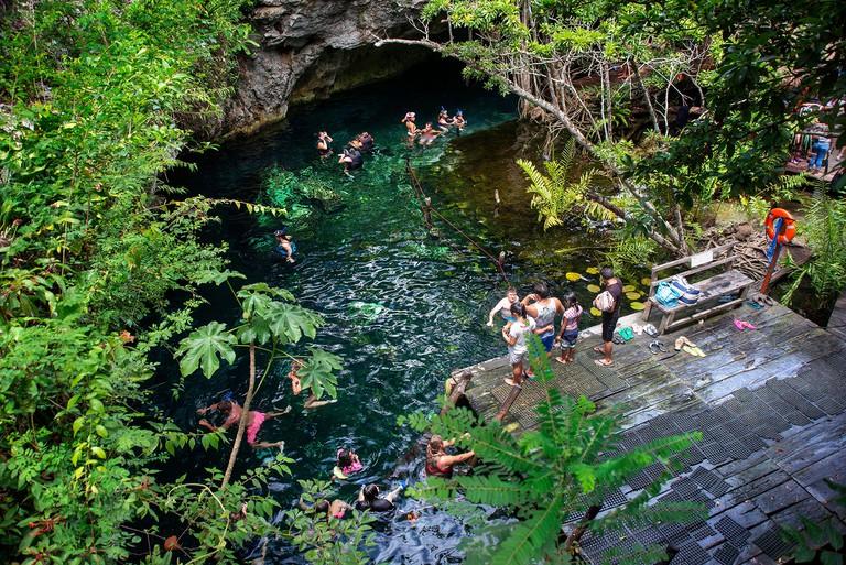 Gran Cenote de Tulum in Yucatan Peninsula, Quintana Roo, Mexico. There are thousands of cenotes dotted all over Mexico's Yucatan Peninsula, and their