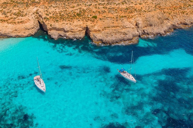 An aerial view of the Blue Lagoon, Comino