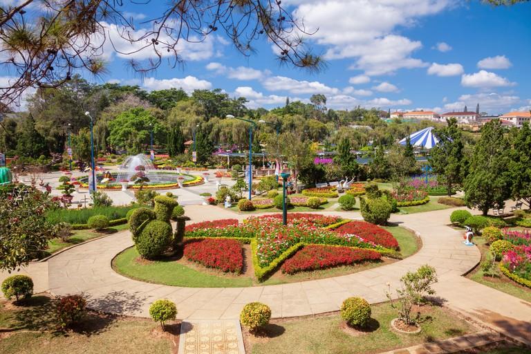 Dalat Flower Gardens park in city of Da Lat, Vietnam, is a popular tourist destination.