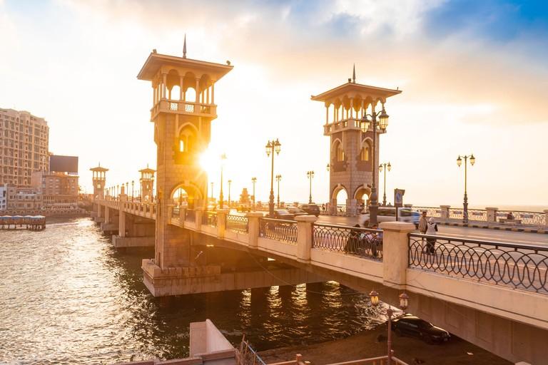 Egypt, Alexandria, Stanley bridge at sunset