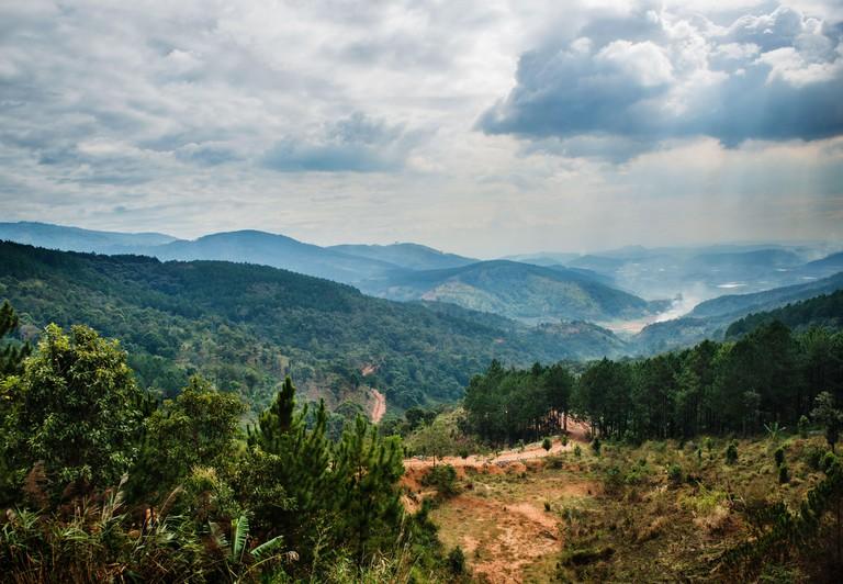 Scenic view of mountain range at Lang Biang, Vietnam, Southeast Asia