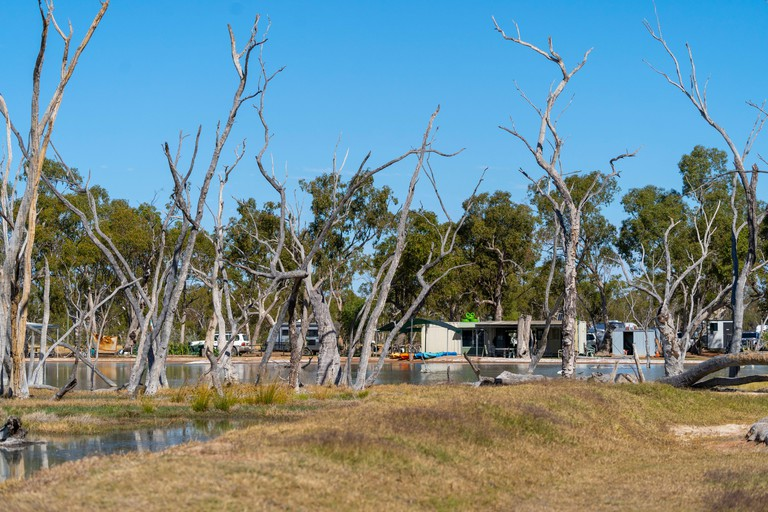 Campers and Caravanners camping on shores of Lara Wetlands, Barcaldine Queensland