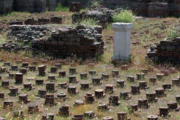 The ruins of the Tepidarium (warm room) at the ancient Roman Bath ruins at Ankara in Turkey.